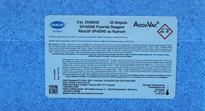 Picture of PK(25/pk) - H-25060-25 - SPADNS Reagent for Fluoride in AccuVac® Ampules (H2506025)