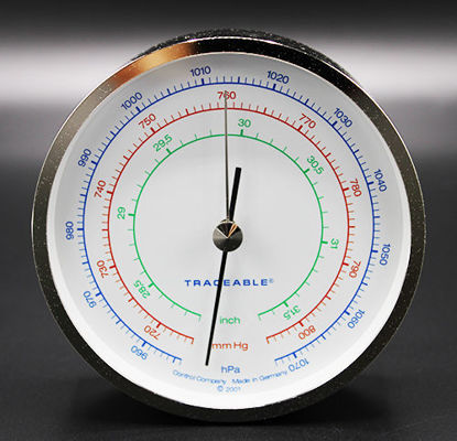 "Picture of EA - BA-100A - Traceable Barometer, 4"" Chrome, Hg, mmHg, hPa (BA100A)"