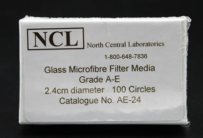 Picture of PK(100/pk) - AE-24 - 2.4 cm NCL Grade A-E Glass Microfiber Filters (AE24)