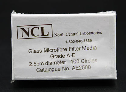 Picture of PK(100/pk) - AE-25 - 2.5 cm NCL Grade A-E Glass Microfiber Filters (AE25)