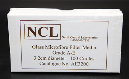 Picture of PK(100/pk) - AE-32 - 3.2 cm NCL Grade A-E Glass Microfiber Filters (AE32)