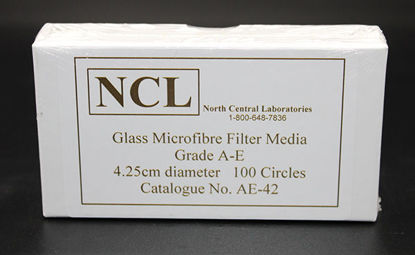 Picture of PK(100/pk) - AE-42 - 4.25 cm NCL Grade A-E Glass Microfiber Filters (AE42)