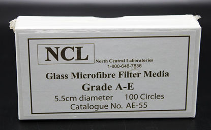 Picture of PK(100/pk) - AE-55 - 5.5 cm NCL Grade A-E Glass Microfiber Filters (AE55)