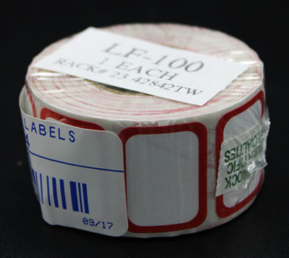 "Picture of RL(500/rl) - LF-100 - 1"" x ¾"" Red-Border Self-Adhesive Labels (LF100)"
