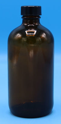 Picture of B-610 - 8 oz Amber Narrow-Mouth Glass Bottle w/ Screw Cap (B610)