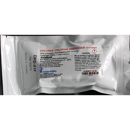 Picture of 100 TESTS - DPD-01F - Chlorine, Free, DPD Powder Pop Dispenser, 10 ml Sample (DPD01F)