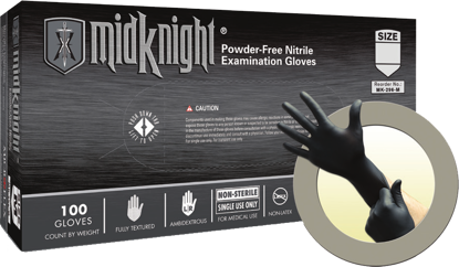 Picture of GD-296-L - MidKnight Black Powder-Free Nitrile Gloves, Size L (GD296L)