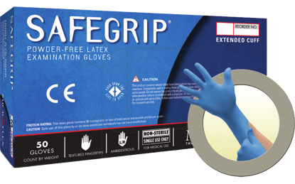 Picture of GD-375-L - SAFEGRIP Powder-Free Extended Cuff Disposable Latex Gloves, Size L (GD375L)