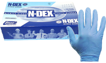 Picture of GD-7005-XXL - Blue Powdered Disposable Nitrile Gloves, Size XXL (GD7005XXL)