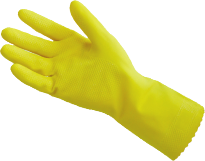 Picture of G-298 - Yellow Industrial Natural Rubber Latex Gloves, Size L (G298)